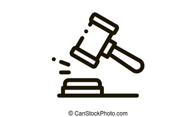 Court Gavel Law And Judgement animated black icon on white background