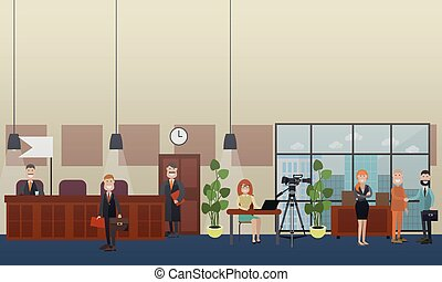 Court hearing concept vector flat illustration - Vector set...