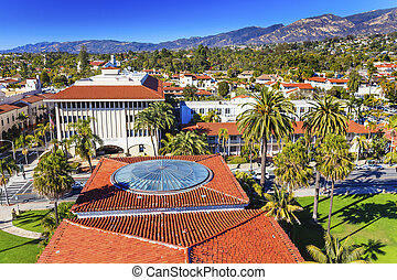 Court House Administration Buildings Orange Roofs Houses Mission Mountains Santa Barbara California