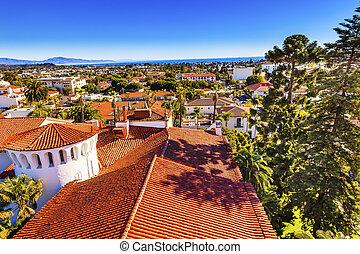 Court House Buildings Orange Roofs Pacific Oecan Santa Barbara California