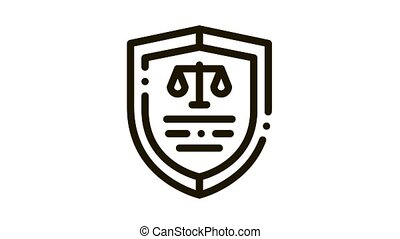 Court Icon Law And Judgement animated black icon on white background