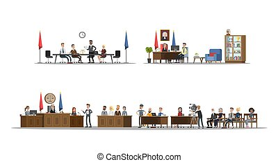 Court interior with courtroom and offices set. Trial process...
