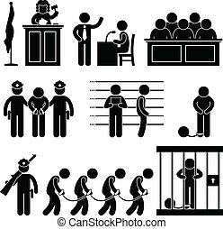 Court Judge Law Jail Prison Lawyer - A set of pictogram...