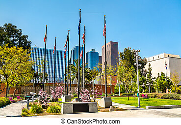 Court of Historic American Flags in Grand Park, Los Angeles