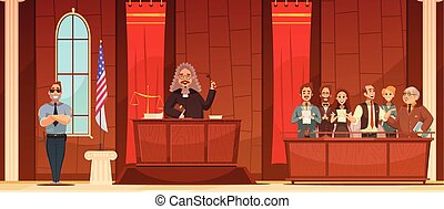 Court Of Law Retro Cartoon Poster - American court of law...