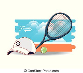 court of tennis sport with racket cap and ball