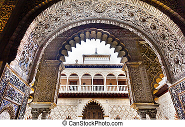 Court of the Maidens Arches Mosaics Alcazar Royal Palace Seville Andalusia Spain. Originally a Moorish Fort, oldest Royal Palace still in use in Europe. Built in the 1100s and rebuilt in the 1300s.