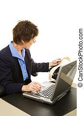 Court Reporter Transcribing - Court reporter transcribing...