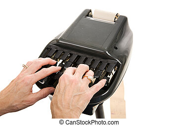 Court Reporting Stenograph - Closeup of a court reporters...