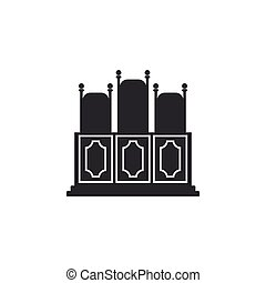 Court s room with table icon isolated. Chairs icon. Flat design. Vector Illustration
