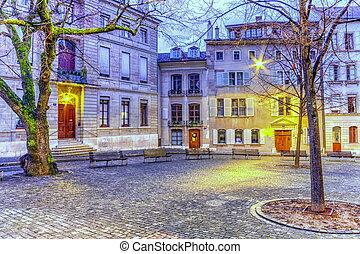 Court Saint-Pierre in the old city, Geneva, Switzerland, HDR