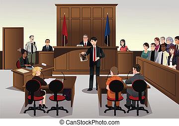 Court scene - A vector illustration of court scene