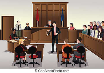 Court scene - A vector illustration of court scene