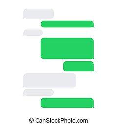 court, service, set., sms, vecteur, message blanc, bulles