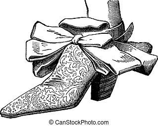 Court shoes under Louis XIV (man), vintage engraving. -...