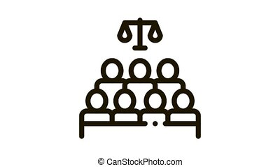 Court Sitting Law And Judgement animated black icon on white background