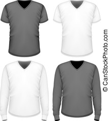 court, sleeve., hommes, long, t-shirt, v-cou