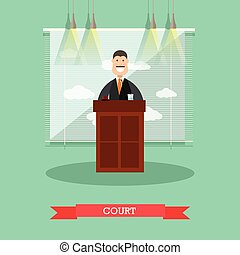 Court vector illustration in flat style