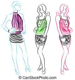 courte jupe, femmes