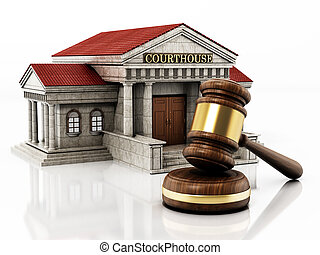Courthouse and gavel isolated on white background. 3D illustration