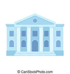 Courthouse building icon - Courthouse or bank building flat...