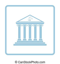 Courthouse icon. Blue frame design. Vector illustration.