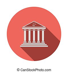 Courthouse icon. Flat Design Circle With Long Shadow. Vector...