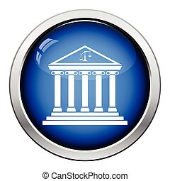 Courthouse icon. Glossy button design. Vector illustration.