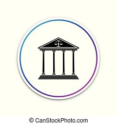 Courthouse icon isolated on white background. Circle white button. Vector Illustration