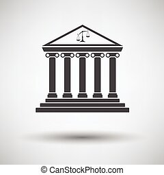 Courthouse icon on gray background with round shadow. Vector...