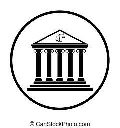 Courthouse icon. Thin circle design. Vector illustration.