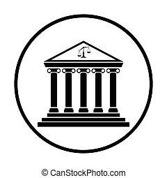 Courthouse icon. Thin circle design. Vector illustration.