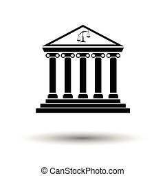 Courthouse icon. White background with shadow design. Vector illustration.