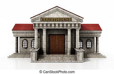 Courthouse isolated on white background. 3D illustration