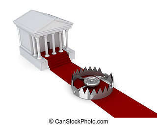 Courthouse, red carpet and iron trap.Isolated on white...