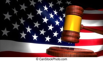 Courtroom gavel - Gavel with american flag background.