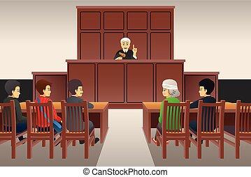 courtroom, ilustración, escena