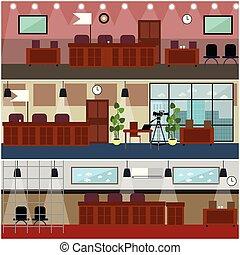 Courtroom interior concept vector flat poster set - Vector...