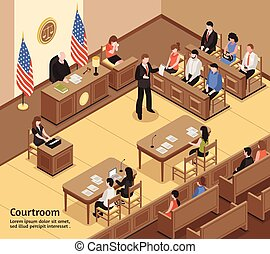 Courtroom Isometric Illustration - Judiciary isometric...