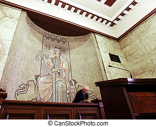courtroom justice - interior of a civil courtroom with...