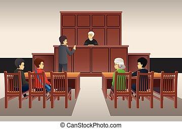 Courtroom Scene Illustration - A vector illustration of...
