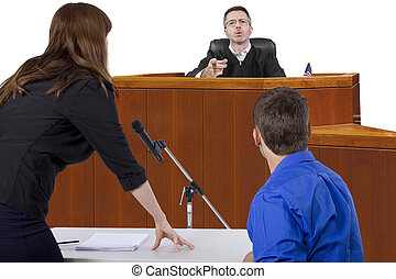 Courtroom Trial - defendant with lawyer speaking to a judge ...