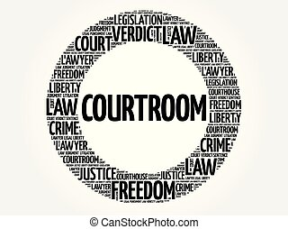 Courtroom word cloud concept
