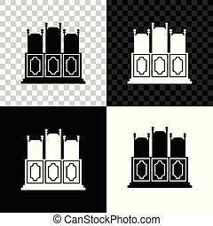 Court's room with table icon isolated on black, white and transparent background. Chairs icon. Vector Illustration