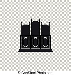 Court's room with table icon isolated on transparent background. Chairs icon. Flat design. Vector Illustration