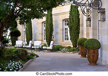 Courtyard and garden of a stylish mansion near Bordeaux, ...