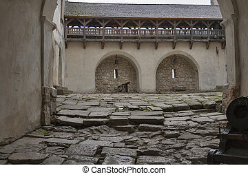 Courtyard and loopholes of the medieval castle