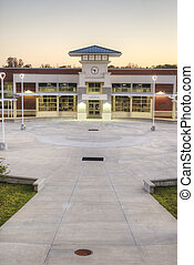 Courtyard at High School in Florida at Sunset.