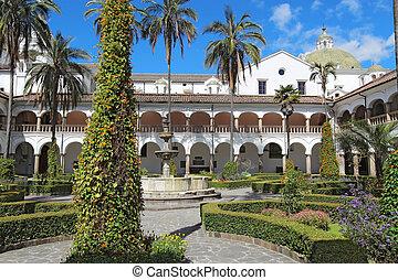 Courtyard at the church of San Francisco in Quito, Ecuador -...