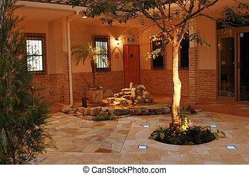 Courtyard III - View of a newly constructed Spanish style ...